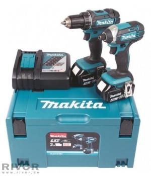 Makita набор 18V /2 аккумулятора X4,0Ah Li-ion+  (аккумуляторная дрель DDF482 + аккумуляторная ударная  отвертка DTD152)