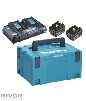 Makita двойное зарядное устройство DC18RD + 2 аккумулятора. 18V, BL1850B, , MAKPAC чемодан
